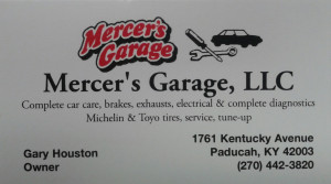 If you have any automotive needs, give Sharon and Gary Houston with Mercers Garage a call.  They can take care of almost any of your automotive needs in an honest and timely manner.